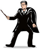 Magician with wand. Vector art of a young Magician with wand Royalty Free Stock Image