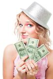 Magician woman with dollars Stock Photo