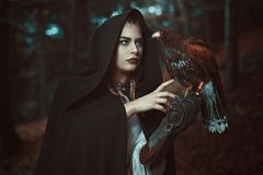 Magician woman with hawk familiar. Forest shot Royalty Free Stock Image