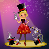 Magician woman and magic hat show. Cute pretty Magician costume on show cartoon concept illustrations Royalty Free Stock Images