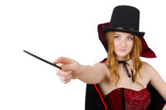 Magician woman with wand Royalty Free Stock Images