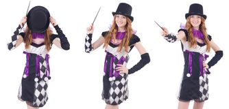 The magician woman with wand on white Stock Photos