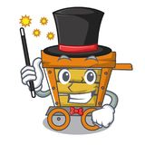 Magician wooden trolley mascot cartoon. Vector illustration royalty free illustration