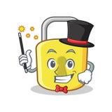Magician yellow lock character mascot Royalty Free Stock Photography