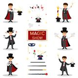 .Magicians with doves, playing cards,. Collectoin of magicians.Magicians with doves, playing cards, magic winds and hats.Isolated on white background. Cartoon Stock Photo