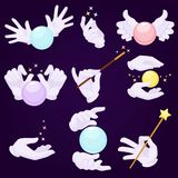 Magicians hands in white gloves with magic ball and wand stock illustration