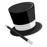 Magicians Hat. An illustration of a black and white magician's hat with a wand Stock Image