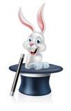 Magicians Hat Bunny White Rabbit Stock Photo