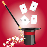 Magicians magical hat with accessories. This image represents a magical hat with different accessories for magicians Stock Image