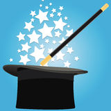 Magicians magical hat with accessories. This image represents a magical hat with different accessories for magicians Royalty Free Stock Photo