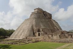 Magicians Pyramid Uxmal Maya Site. The impressive Magicians Pyramid in the archaeological Maya site of Uxmal Royalty Free Stock Photos