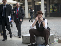 Magicians waiting for their turn to perform at Magic corner of Covent garden Stock Image