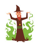 Magicians and wizards illusion show old man character vector. Stock Photos