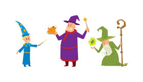 Magicians and wizards illusion show old man character vector. Stock Image