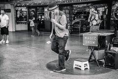 Magicien à l'expérience de rue de Fremont photos libres de droits