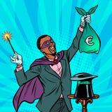 Magicien africain avec l'euro argent illustration stock