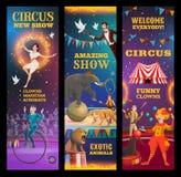 Magicien, animaux, clown et acrobates dans le cirque illustration de vecteur