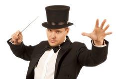 Magicien avec la baguette magique magique photo libre de droits