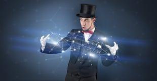Magicien avec la connexion géométrique sur sa main illustration stock