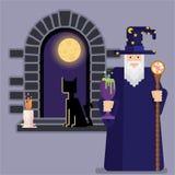 Magicien avec la cuvette et le personnel et la fenêtre de nuit illustration stock