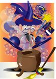 Magicien avec le chaudron illustration libre de droits