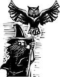Magicien avec le hibou illustration stock
