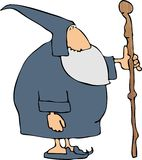 Magicien avec un bâton de marche Image libre de droits