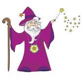 Magicien avec une baguette magique illustration de vecteur