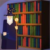 Magicien dans la bibliothèque illustration libre de droits