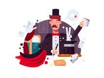 Magicien dans le cylindre et le manteau illustration stock