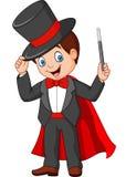 Magicien de bande dessinée tenant la baguette magique magique illustration libre de droits