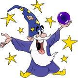 Magicien de bande dessinée tenant une boule de cristal dans son vecteur de mains illustration stock