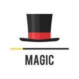 Magicien de chapeau supérieur avec une canne illustration stock