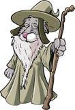 Magicien de chat de bande dessinée avec le personnel Image stock