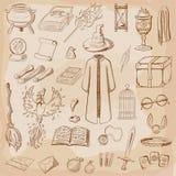 Magicien de choses : magicien, chapeau, livre magique, rouleau, breuvage magique, balai, boule de cristal, manteau, épée, tasse,  illustration de vecteur