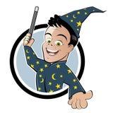 Magicien de dessin animé avec la baguette magique Photos stock