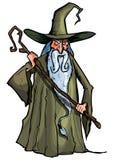 Magicien de dessin animé avec le personnel Photos libres de droits