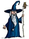 Magicien de dessin animé avec le personnel Images libres de droits