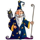 Magicien de dessin animé avec un personnel Images stock