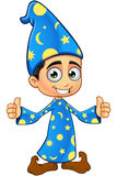 Magicien de garçon dans le bleu - deux pouces  illustration stock