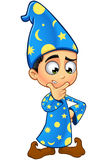 Magicien de garçon dans le bleu - pensant Photo stock