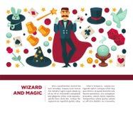 Magicien et homme magique avec des attributs et des éléments magiques illustration stock