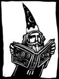 Magicien et livre illustration stock