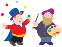 Magicien et peintre Photos stock