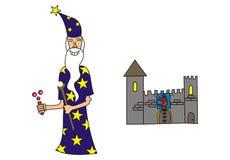 Magicien et un château Image libre de droits