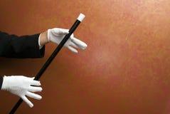 Magicien exécutant avec la baguette magique Photos libres de droits