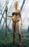 Magicien féminin blond posant dans une forêt enchantée illustration de vecteur