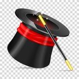 Magicien Hat avec la baguette magique illustration de vecteur