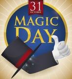 Magicien Hat avec la main de flottement pour la célébration magique de jour, illustration de vecteur illustration de vecteur