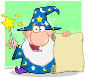 Magicien heureux supportant un rouleau illustration libre de droits